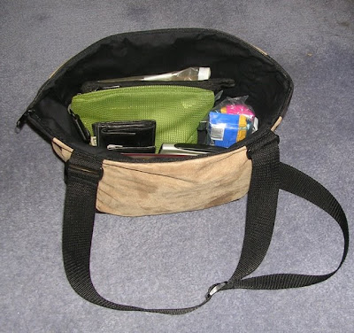purse, open to show the contents