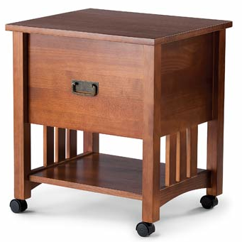 file trolley, wood, mission-style