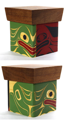 bentwood boz, frog image, two views