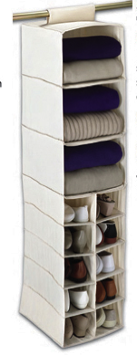 closet organizer that hangs from the rod
