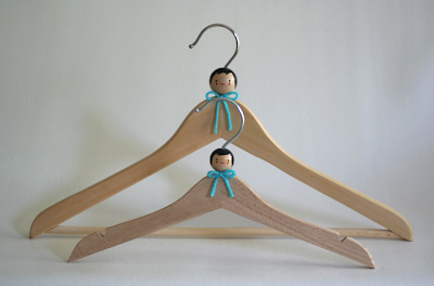 wooden hangers, child and adjult size, with adornment