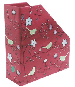 magazine holder with flowers and birds