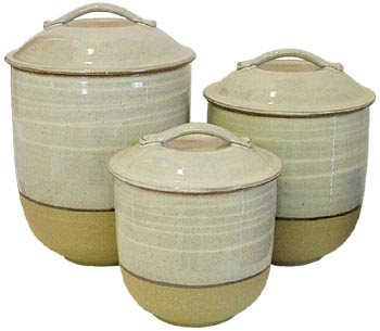 three stoneware canisters
