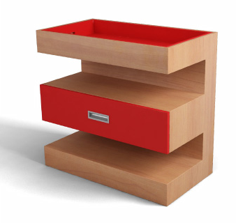 changing table, modern, red