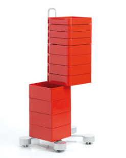 red cabinet with 12 rotating drawers