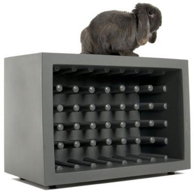 wine rack with bunny rabbit
