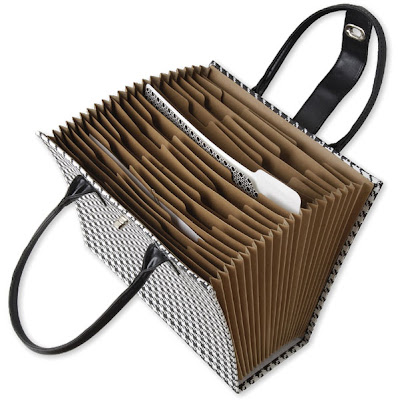 herringbone file tote, open