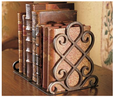 scrolled wrought iron bookends