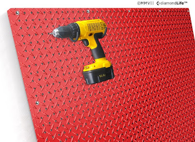 red metal pegboard