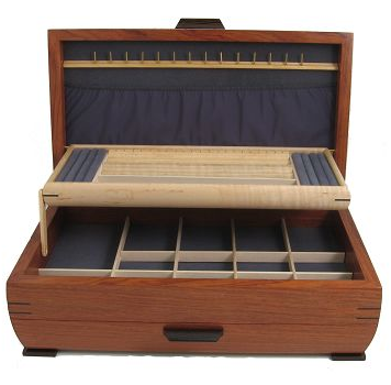 one-drawer jewelry box, wood, open