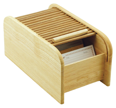 roll-top recipe box