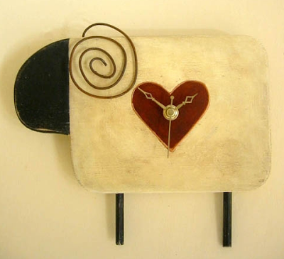 sheep clock with heart