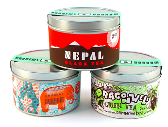 three tea tins
