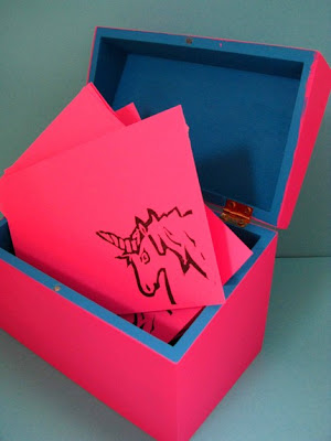 recipe box and cards, bright pink, image of unicorn