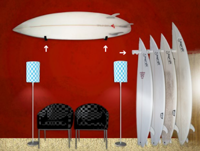horizontal and vertical surfboard racks