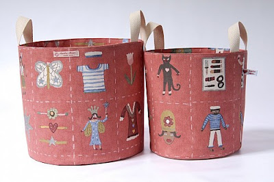 two fabric buckets, cotton