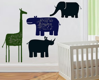 animal chalkboards - elephant, rhino, giraffe, and hippo
