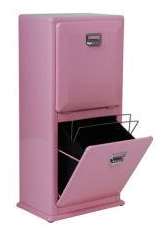 stacked recycling bins, pink