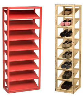 two vertical shoe racks