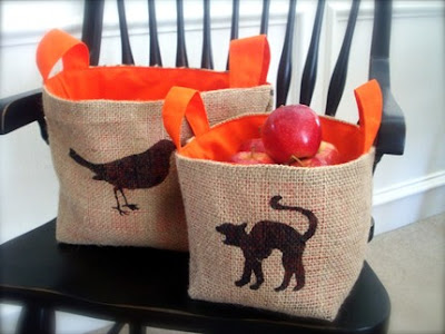 coffee sack baskets with crow and black cat