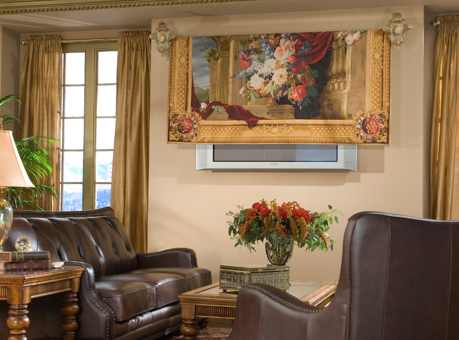 Tv Hidden In Wall Part - 39: Tapestry Cover For Flat-screen-wall-mounted TV