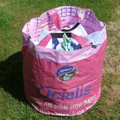 laundry trug from recycled rice bag