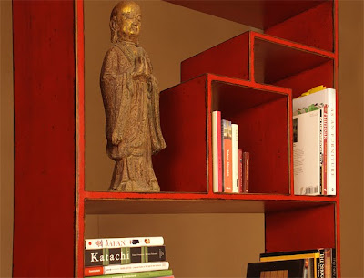 red shelving