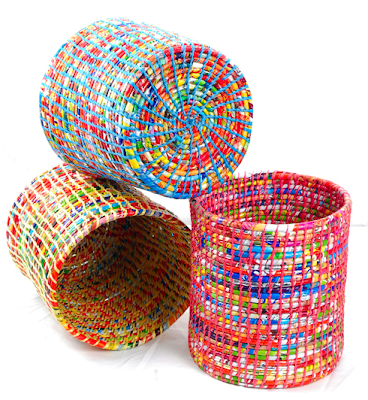 wastepaper basket from recycled plastic food wrappers