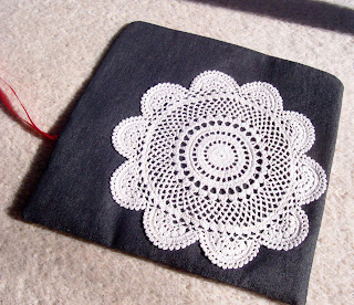 image fabric roll and vintage doily