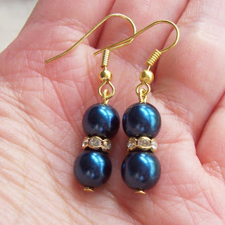 image of chantal earrings glass pearls rhinestones