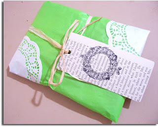 wrapping doily upcycled book tag vintage