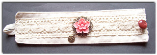 fabric cuff lace calico vintage crochet cabochon sakura flower cherry blossom pink brass filigree