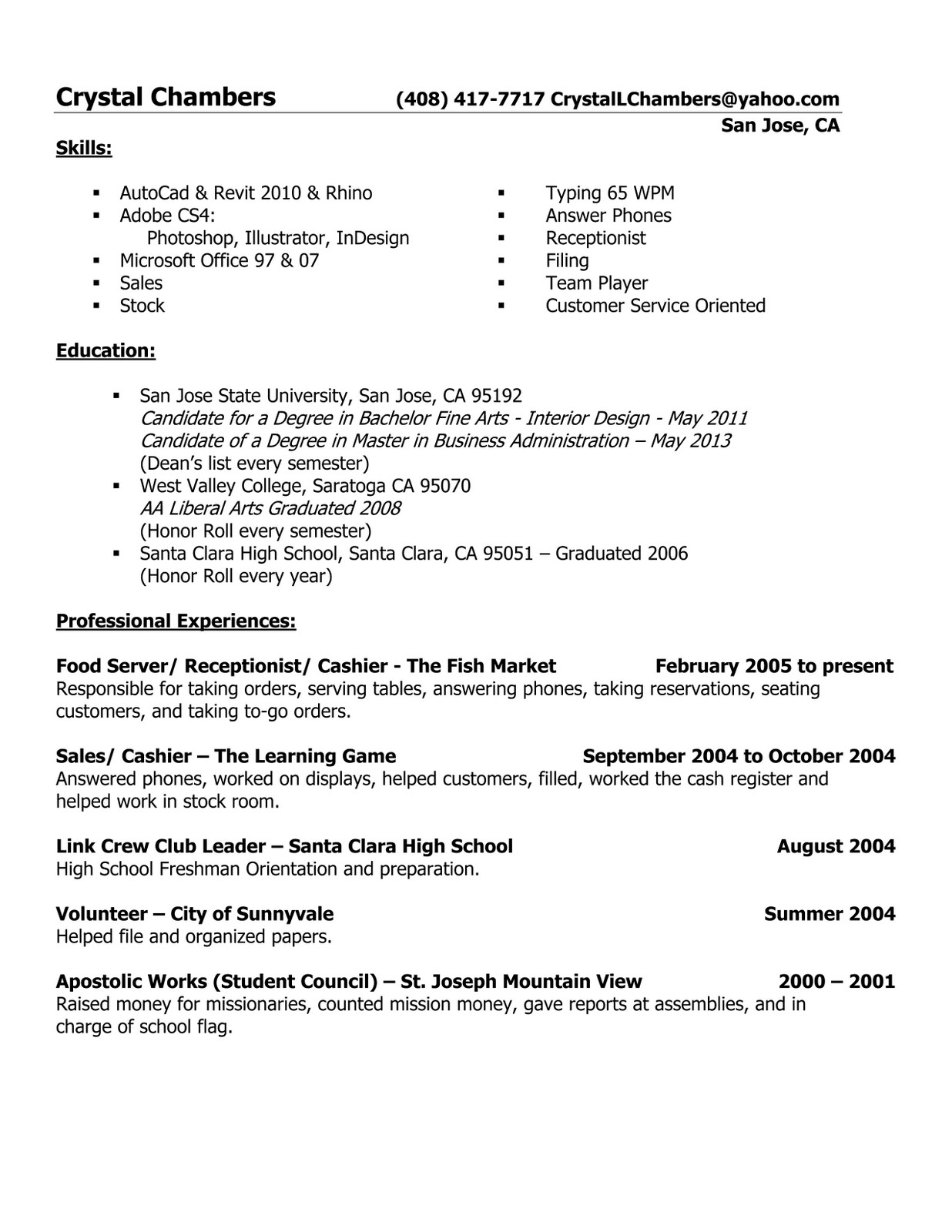 Revised Resume Dsit102 Computer Graphics For Interior Architecture