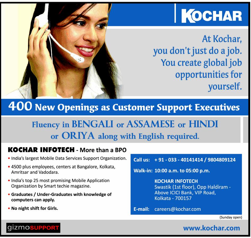 referral openings: [BPO] Kochar Infotech walk-in - Kolkata