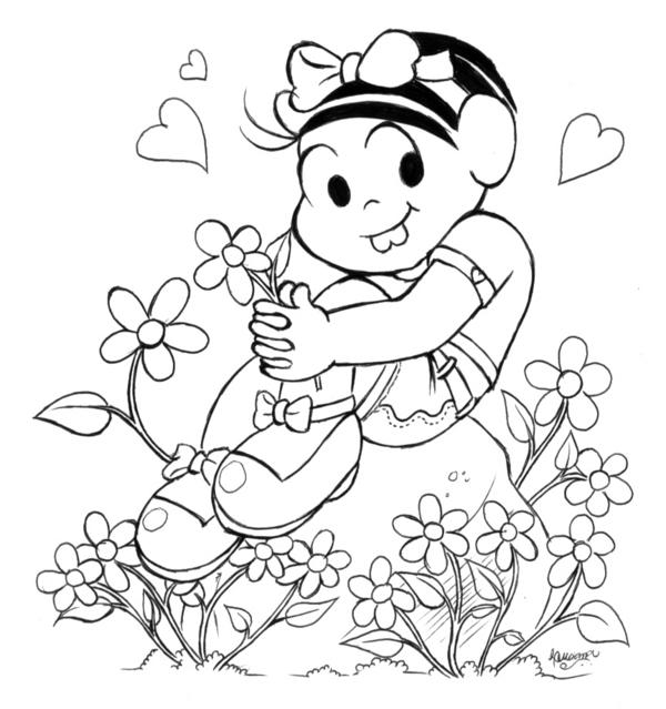 Desenho Da Monica Em Cima Da Pedra E Com Flores Em Volta Pra