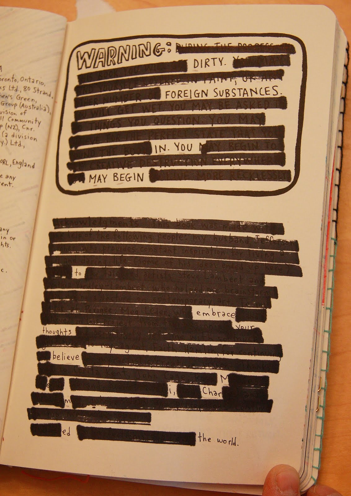 """Reworking of Keri Smith's Wreck This Journal warning/acknowledgements page  