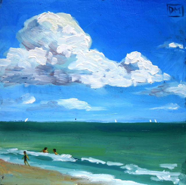 beach painting, clouds, waves, surf, blue, debbiemillerpainting.blogspot.com