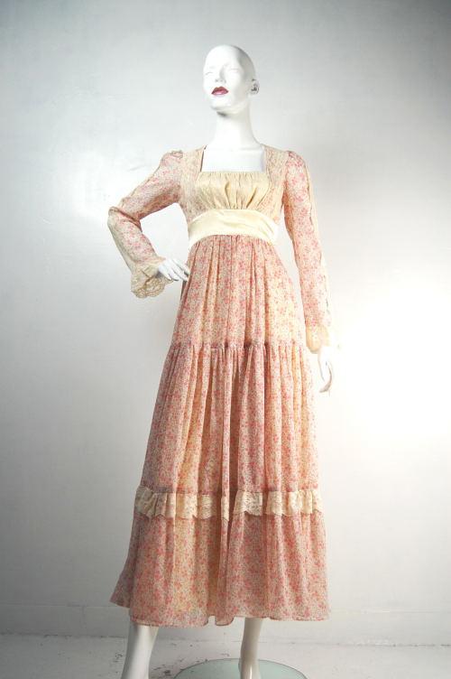 Alcatrock Gunne Sax Pink Cotton Mixi Dress