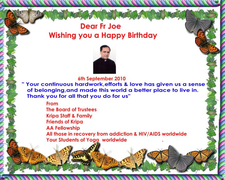 Birthday Greetings To Fr Joe