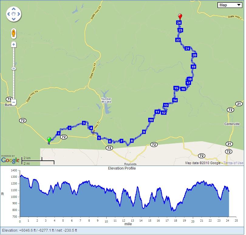 Love To Run Ozark Trail Endurance Run - Map how far i ran