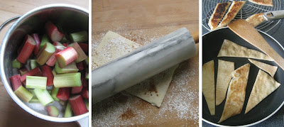 ZZubereitung Rhabarberkompott mit Blätterteigwaffeln nach Jamie Oliver