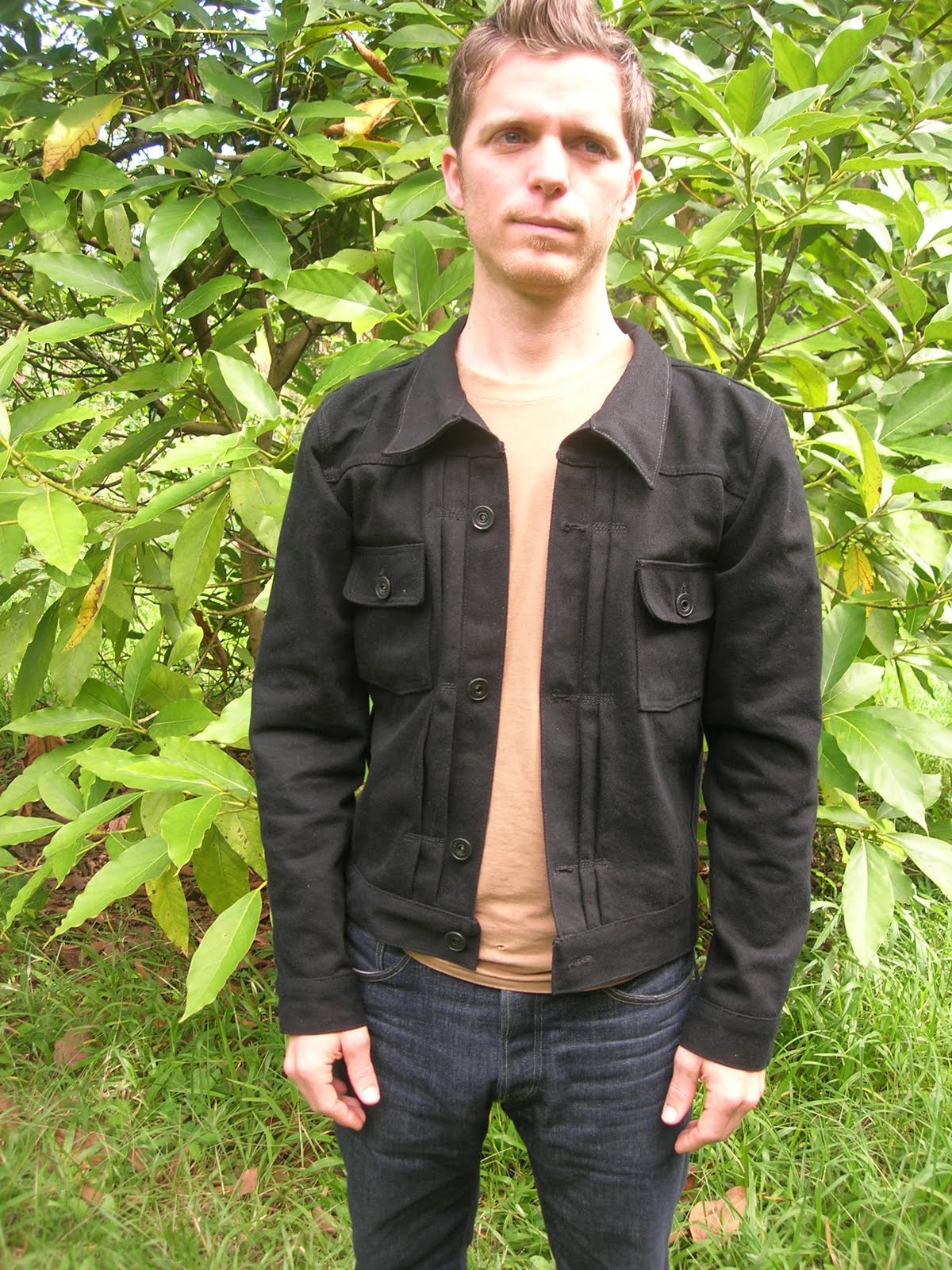 Russell S Shirts Men S 40 S 50 S Style Black Denim Jacket