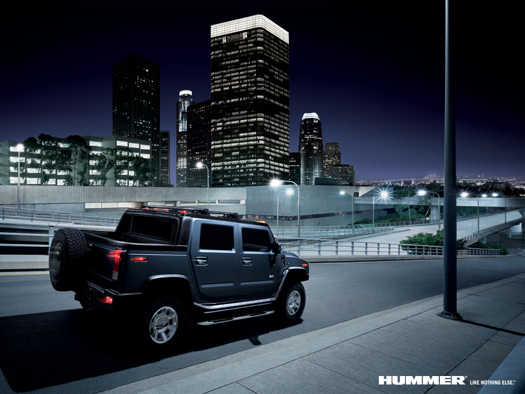 Hummer H2 Night City Car Wallpaper Urban Art Wallpaper