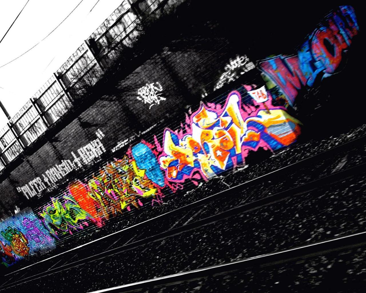 Color in the black graffiti urban art wallpaper | Urban ...