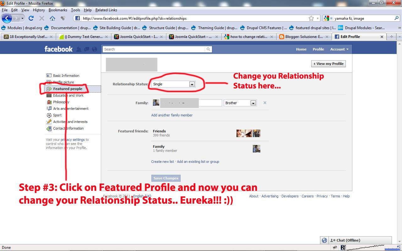 relationship status in facebook profile new