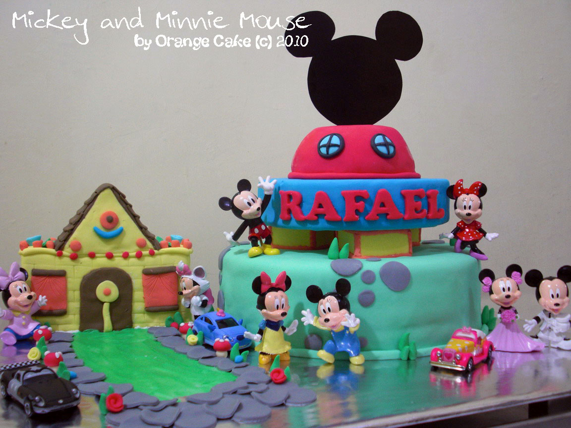 Orange Cake Mickey And Minnie Mouse