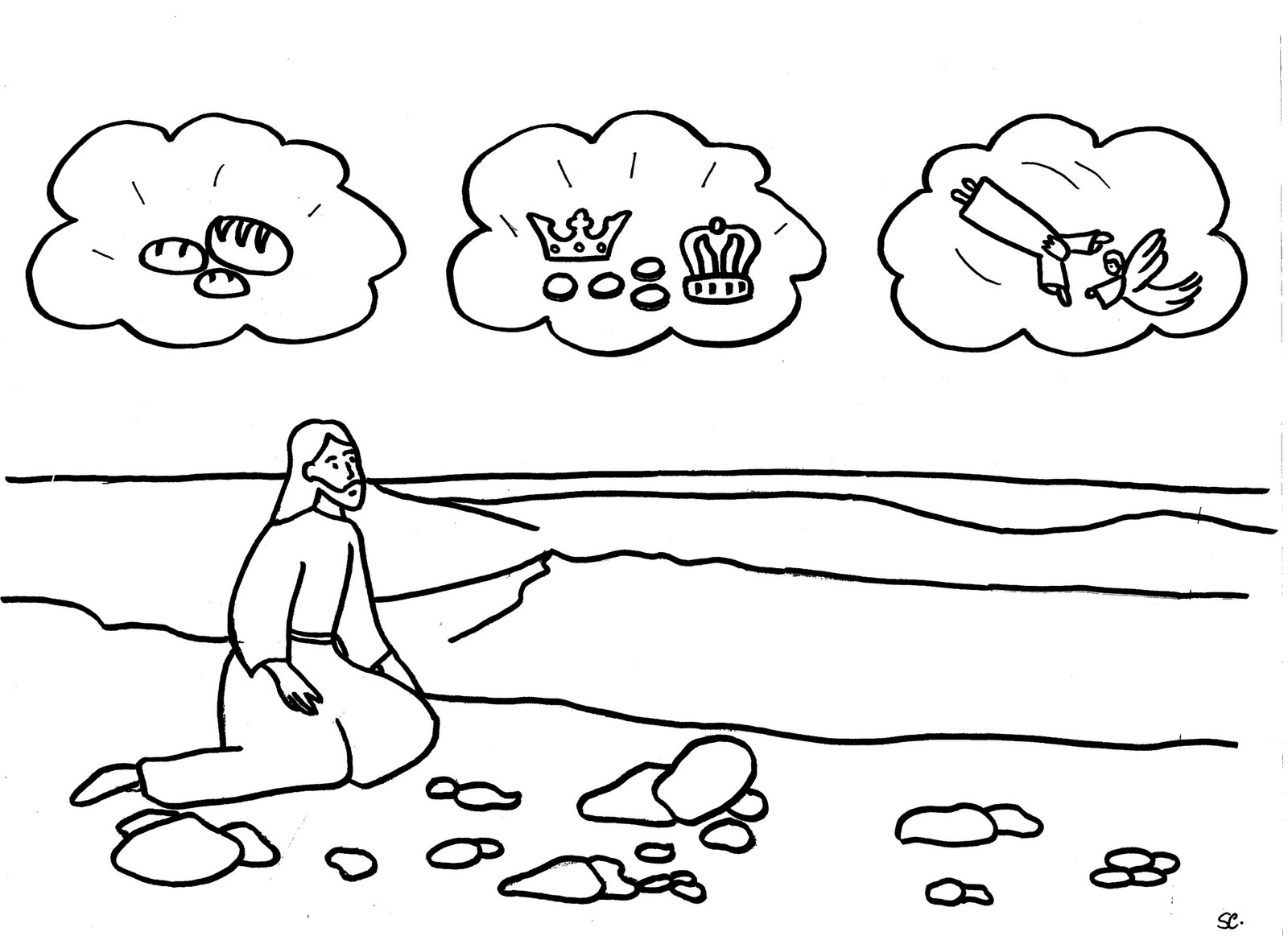 This is a picture of Epic Jesus Tempted In The Wilderness Coloring Sheet