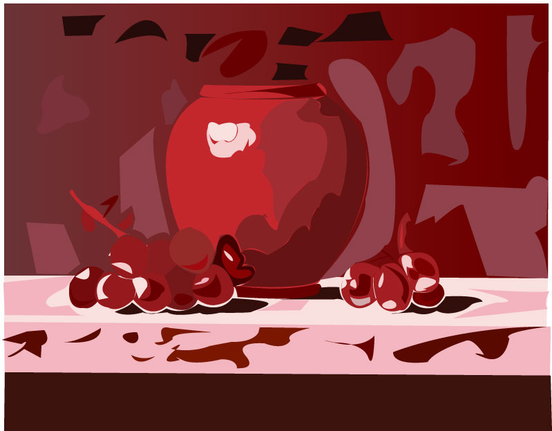Miss Ryan Color Value Example I Chose A Red Monochromatic Scheme For My Vase And Grapes Dark Reds Represent The Shadows Light