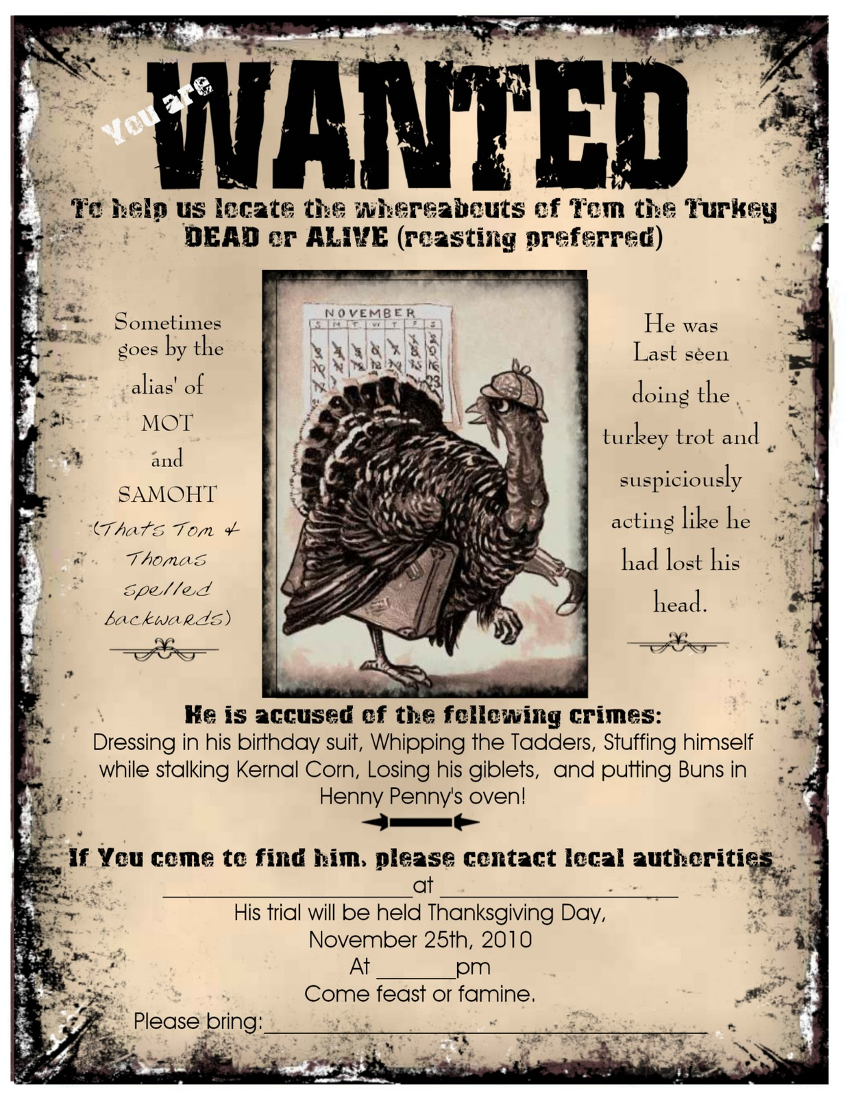 Visiting Teaching Surprise Thanksgiving Dinner Invitation Wanted Poster