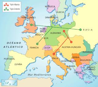 Mapa de Europa durante la Paz armada